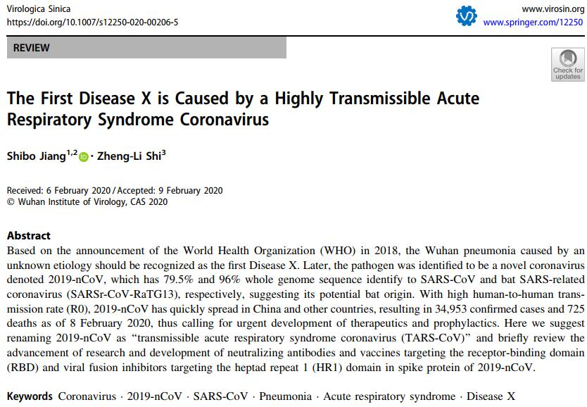 The First Disease X is Caused by a Highly Transmissible Acute Respiratory Syndrome Coronavirus